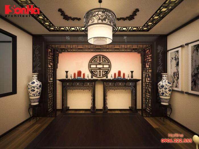 Thiết kế nội thất phòng thờ hiện đại với chất liệu gỗ chủ yếu