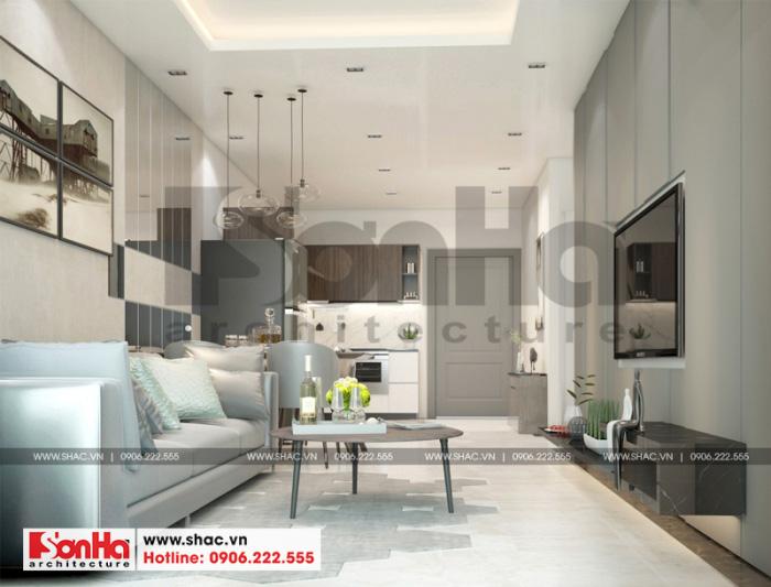 Thiết kế nội thất phòng khách liền bếp phong cách hiện đại của căn hộ chung cư 63m2