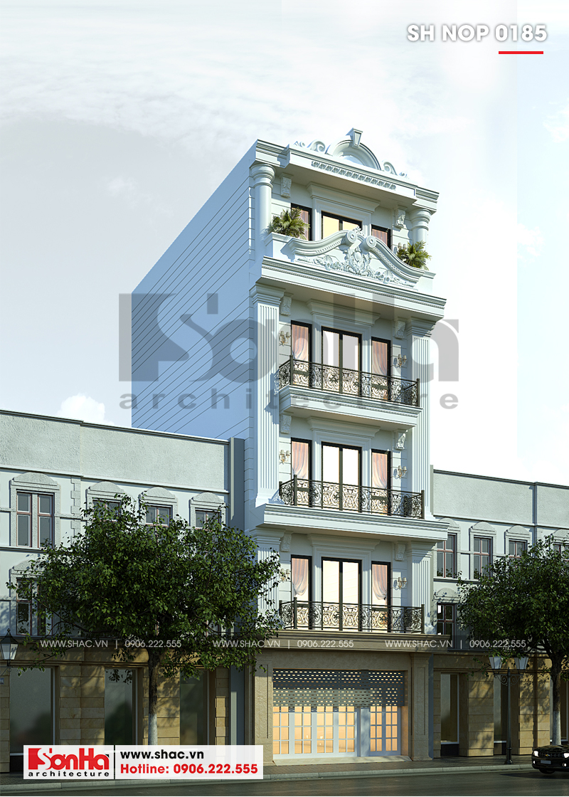 Mẫu mặt tiền nhà phố tân cổ điển dễ dàng tạo thiệm cảm bởi đường nét tinh tế