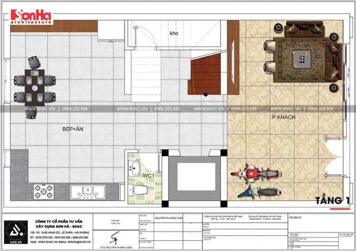 Công năng tầng 1 của ngôi nhà ống kiến trúc tân cổ điển Pháp 5 tầng tại Hải Phòng