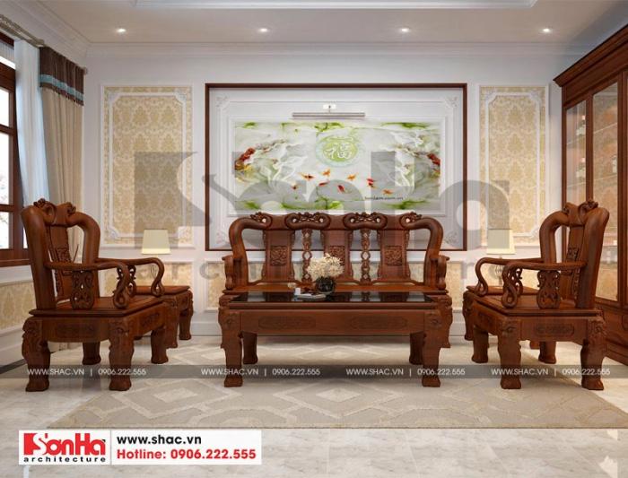 Thiết kế nội thất phòng khách tân cổ điển đẹp với bộ đồng kỵ bố trí vừa vặn