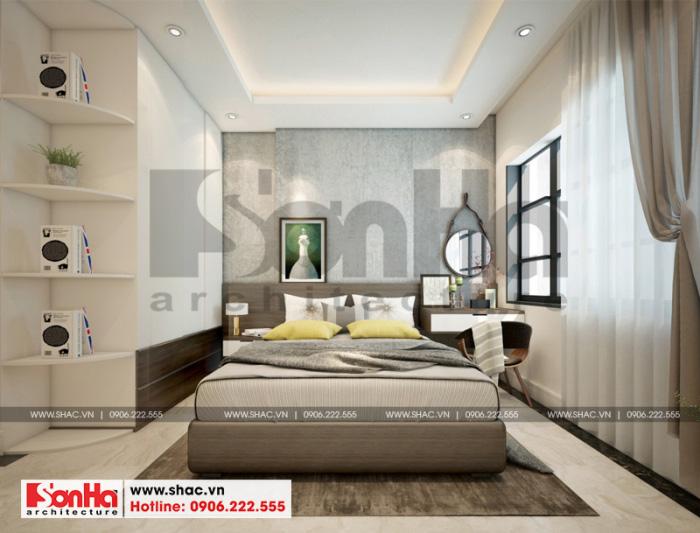 Phòng ngủ hiện đại với thiết kế nội thất độc đáo khiến không gian thoáng mát, tiên nghi