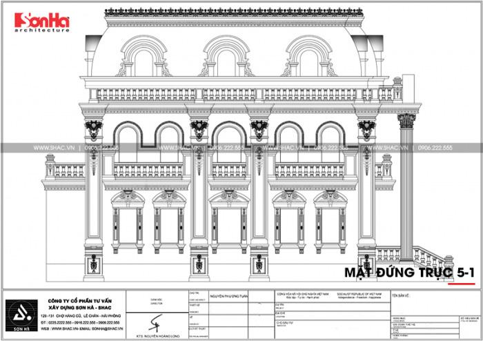 Bản vẽ mặt đứng trục 5-1 biệt thự Pháp 2 tầng 1 tum sang trọng tại Hải Phòng