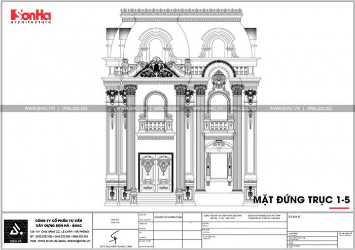 Bản vẽ mặt đứng trục 1-5 biệt thự Pháp 2 tầng 1 tum sang trọng tại Hải Phòng