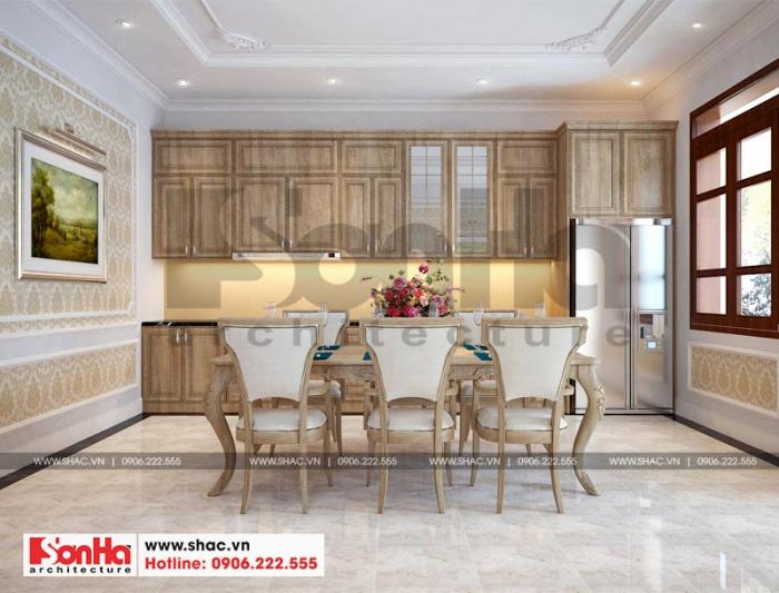 Thiết kế bếp của ngôi nhà phố tân cổ điển giản dị với tủ bếp chữ I bằng gỗ