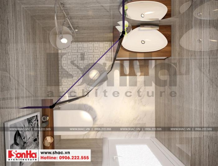Phòng tắm và vệ sinh ấn tượng với gạch ốp lát màu sắc hợp thời tinh tế