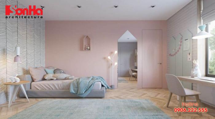 Gam màu nhẹ nhàng tạo nên không gian phòng ngủ đẹp mắt ấn tượng