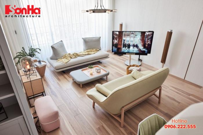 Không gian phòng khách phong cách đương đại có nội thất màu pastel nhẹ nhàng