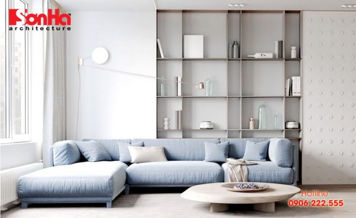 Trang trí nội thất phòng khách màu xanh pastel mang lại nét ấn tượng sâu sắc