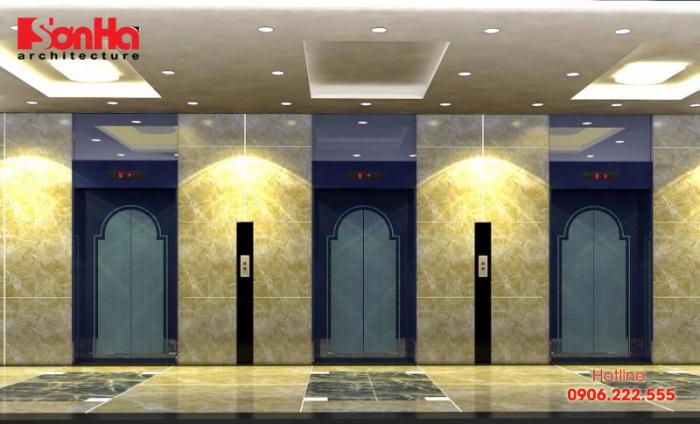 Tùy tiêu chuẩn thiết kế khách sạn sẽ có những mẫu thang máy phù hợp