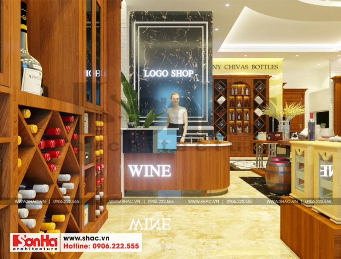 Thiết kế nội thất shop rượu sang trọng và thu hút tại tầng 1 của ngôi nhà