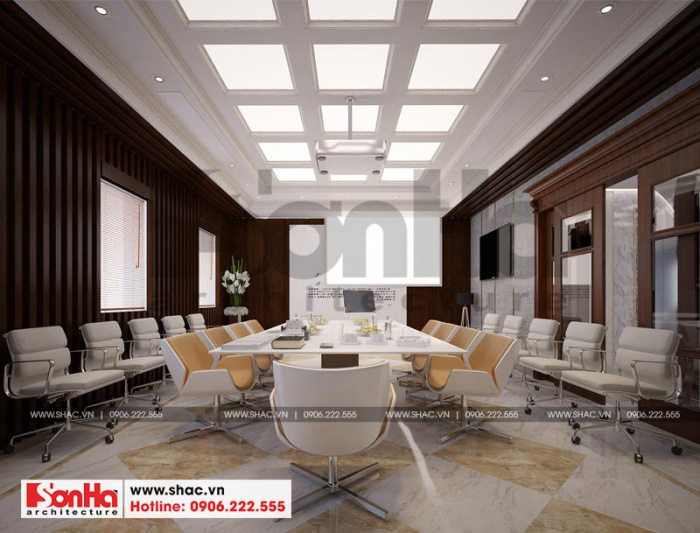 Mẫu thiết kế nội thất phòng họp rộng rãi, bố trí hợp lý tạo sự thuận tiện trong di chuyển