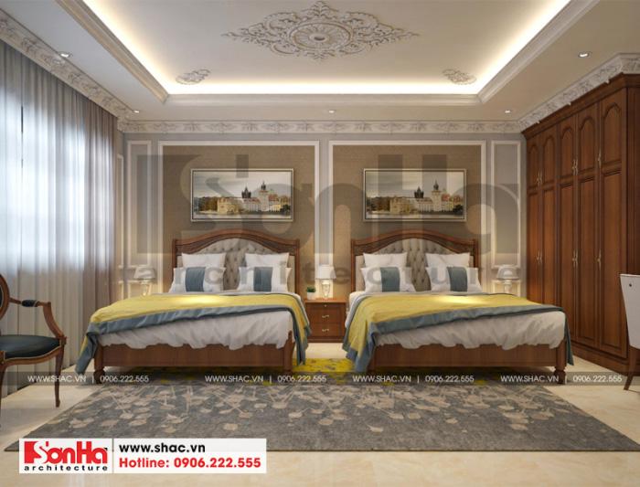Thiết kế nội thất phòng ngủ 2 giường với trang trí có phần cầu kỳ hơn