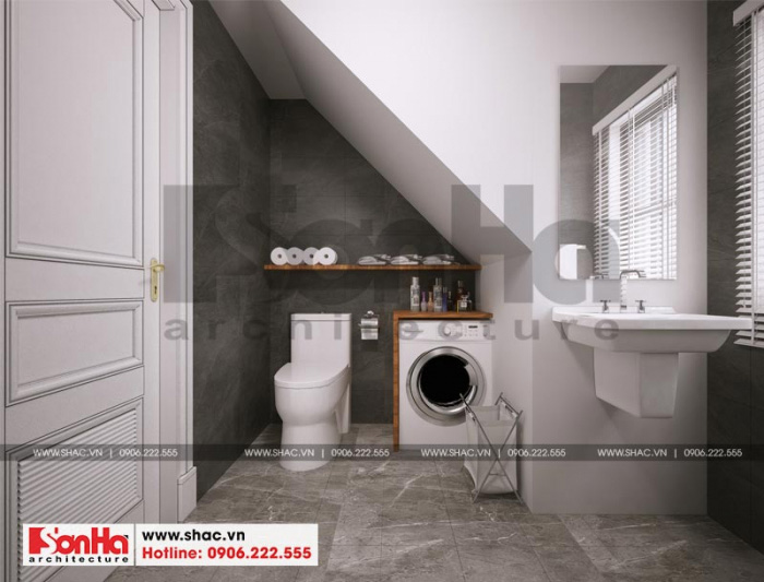 Thiết kế nội thất phòng giặt tại tầng tum của ngôi nhà phố liền kề