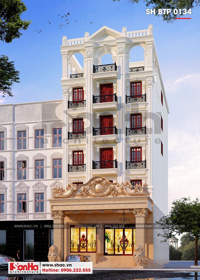 Ngoại thất biệt thự kiểu Pháp mặt tiền 9,3m nổi bật với sự tinh tế của đường nét và màu sắc