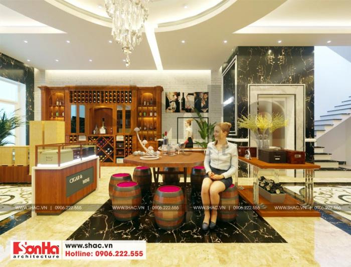 Với đặc thù kinh doanh rượu ý tưởng thiết kế nội thất không gian này được KTS Sơn Hà đầu tư thiết kế vô cùng tỉ mỉ