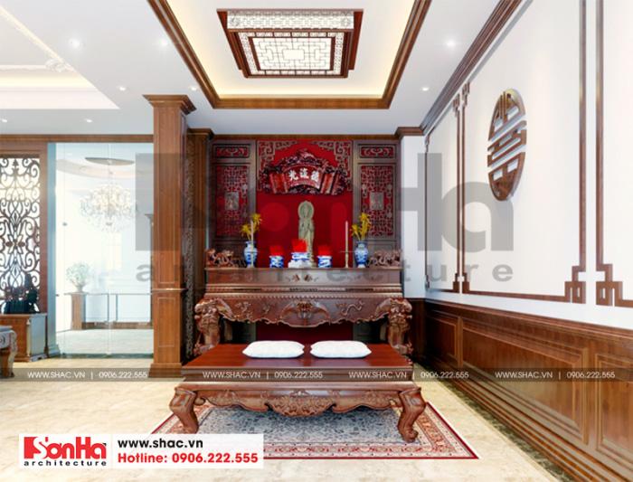 Phương án thiết kế nội thất phòng thờ tôn nghiêm cho ngôi biệt thự Pháp đẹp