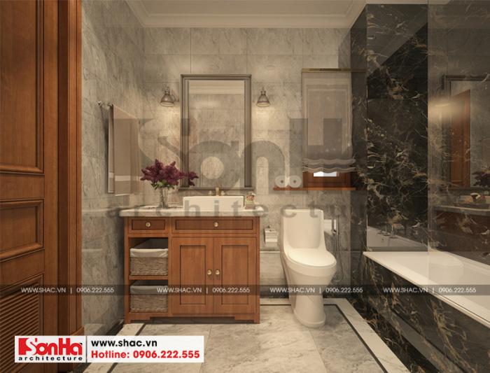 Mẫu thiết kế nội thất phòng tắm và vệ sinh sang trọng đẳng cấp của biệt thự 5 tầng