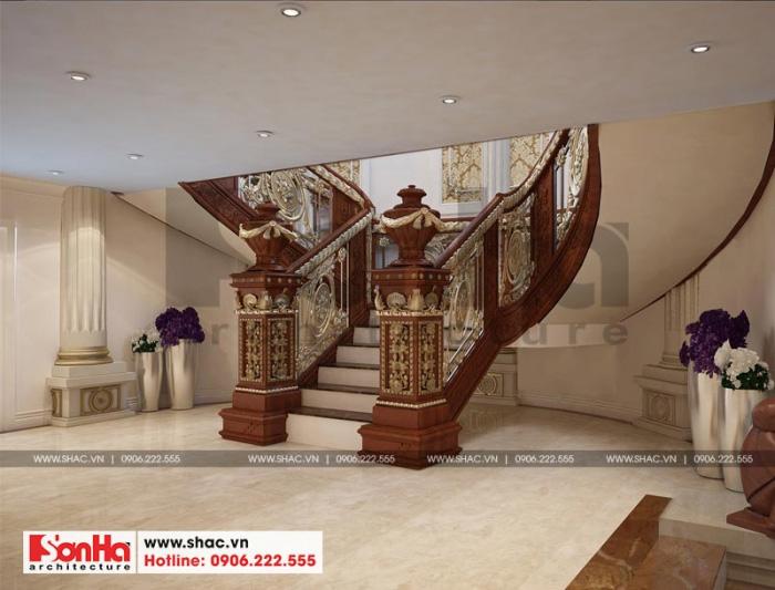 Phương án thiết kế sảnh thang hầm rượu bằng gỗ đẹp mắt ấn tượng