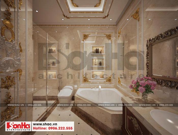 Nét sang trọng và đẳng cấp được thể hiện cả trong thiết kế phòng tắm và vệ sinh