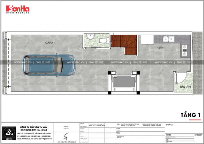 Chi tiết mặt bằng công năng tầng 1 nhà ống tân cổ điển diện tích 58,29m2 (4,45m x 13,1m) tại Hải Phòng