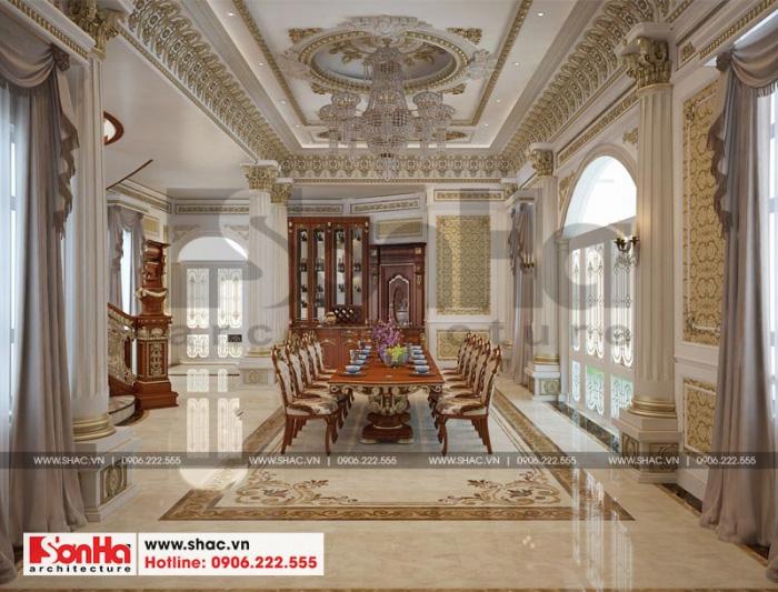 Thiết kế nội thất phòng bếp ăn phong cách hoàn gia trong không gian rộng