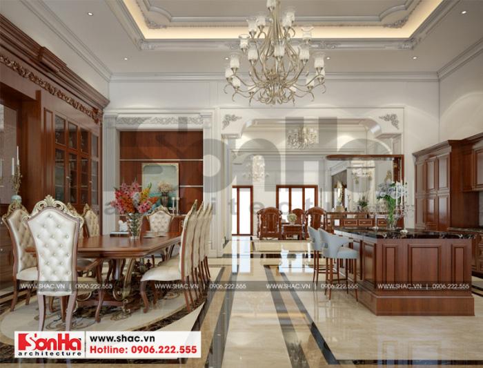 Còn đây là thiết kế nội thất phòng bếp ăn của ngôi biệt thự kiểu Pháp cao tầng