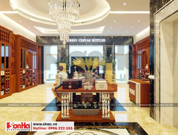 Việc sử dụng nội thất gỗ tự nhiên giúp cho không gian kinh doanh của gia chủ thêm phần sang trọng và lung linh
