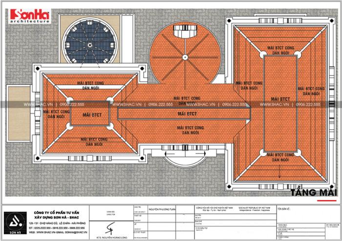 Mặt bằng công năng tầng mái ngôi biệt thự lâu đài 3 tầng tại Pleiku (Gia Lai)