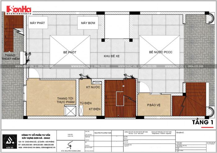 Bản vẽ chi tiết công năng tầng 1 khách sạn kết hợp căn hộ cho thuê tiêu chuẩn 3 sao tại Hải Phòng