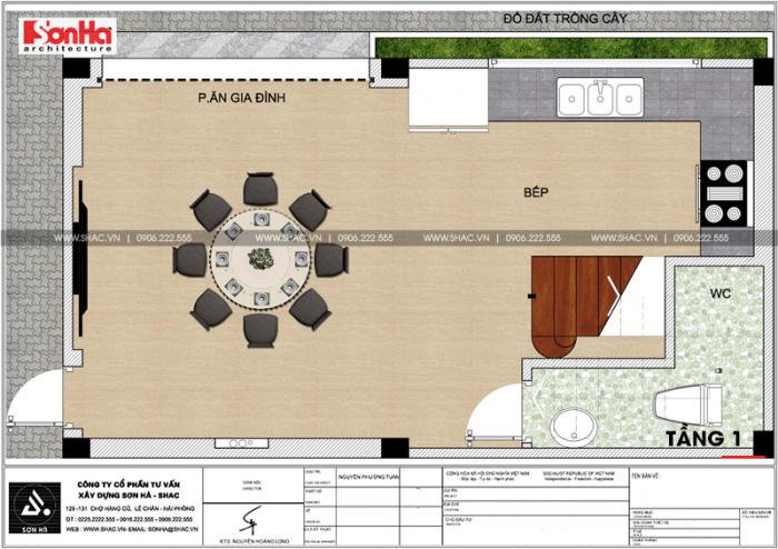 Phương án bố trí công năng tầng 1 nhà ống hiện đại diện tích 36m2 (8m x 4,5m) tại Hải Phòng