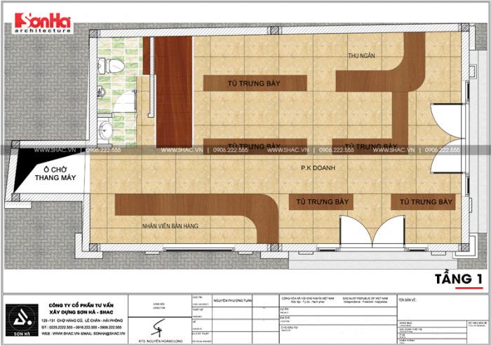Phương án bố trí công năng tầng 1 nhà ống kinh doanh diện tích sàn 92,6m2 tại Quảng Ninh