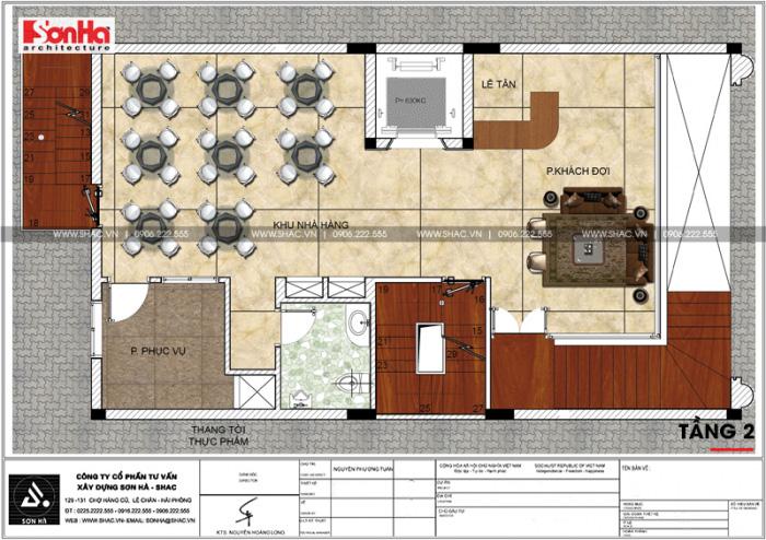 Bản vẽ chi tiết công năng tầng 2 khách sạn kết hợp căn hộ cho thuê tiêu chuẩn 3 sao tại Hải Phòng