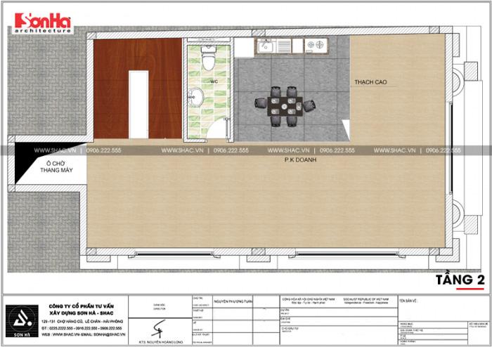 Phương án bố trí công năng tầng 2 nhà ống kinh doanh diện tích sàn 92,6m2 tại Quảng Ninh