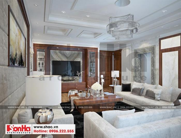 Mãn nhãn với mẫu thiết kế nội thất phòng khách có điểm nhấn là hệ thống đèn cùng gam màu nhã nhặn