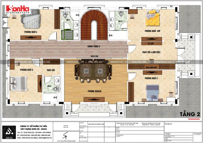 Bản vẽ chi tiết mặt bằng công năng tầng 2 biệt thự tân cổ điển diện tích 199m2 khao học