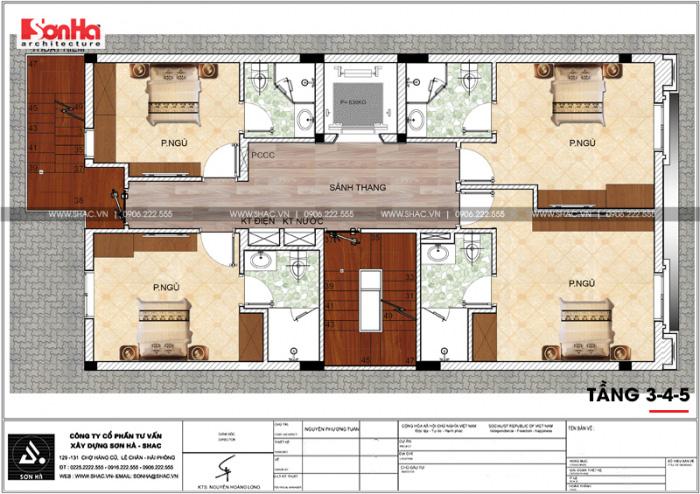 Bản vẽ chi tiết công năng tầng 3, 4, 5 khách sạn kết hợp căn hộ cho thuê tiêu chuẩn 3 sao tại Hải Phòng