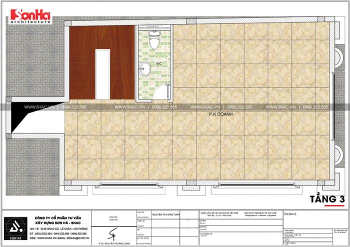 Phương án bố trí công năng tầng 3 nhà ống kinh doanh diện tích sàn 92,6m2 tại Quảng Ninh