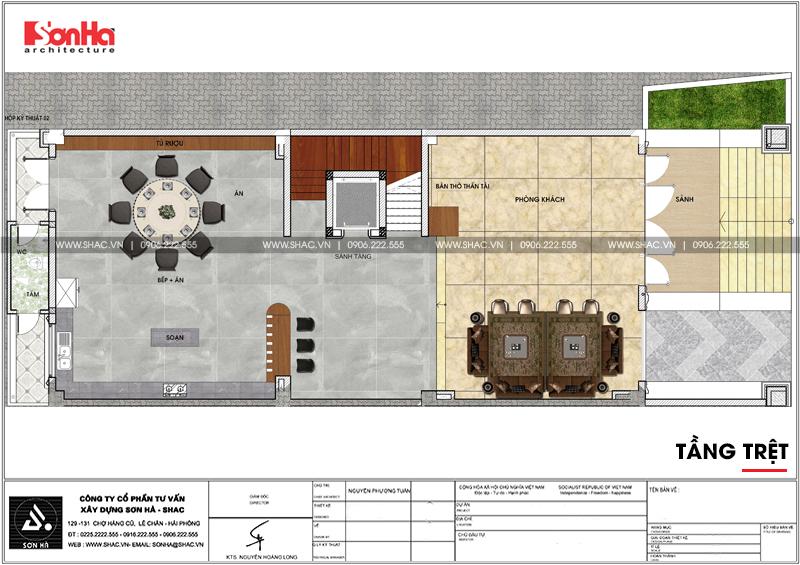 Bản vẽ chi tiết tầng trệt gồm bếp ăn và phòng khách