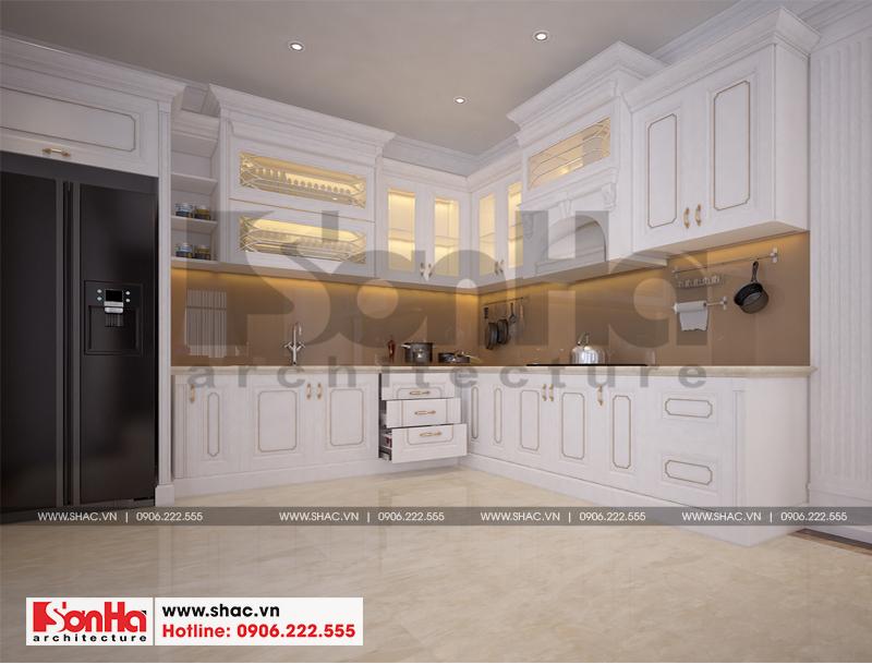 Không gian phòng bếp biệt thự hiện đại có thiết kế tủ bếp chữ L đẹp đón đầu xu hướng