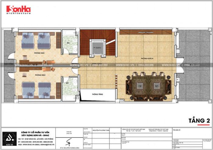 Bản vẽ chi tiết tầng 2 biệt thự Pháp khoa học trên diện tích sàn 244,59m2 tại Ninh Bình