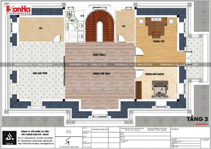 Bản vẽ chi tiết mặt bằng công năng tầng 3 biệt thự tân cổ điển diện tích 199m2 khao học