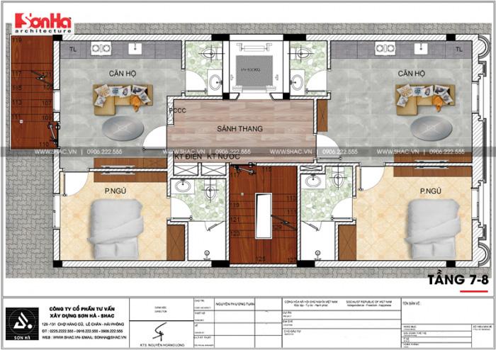 Bản vẽ chi tiết công năng tầng 6và 7 khách sạn kết hợp căn hộ cho thuê tiêu chuẩn 3 sao tại Hải Phòng