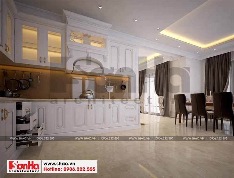 Mẫu nội thất phòng bếp ăn đầy đủ vật dụng mang đến sự tiện nghi cho người sử dụng