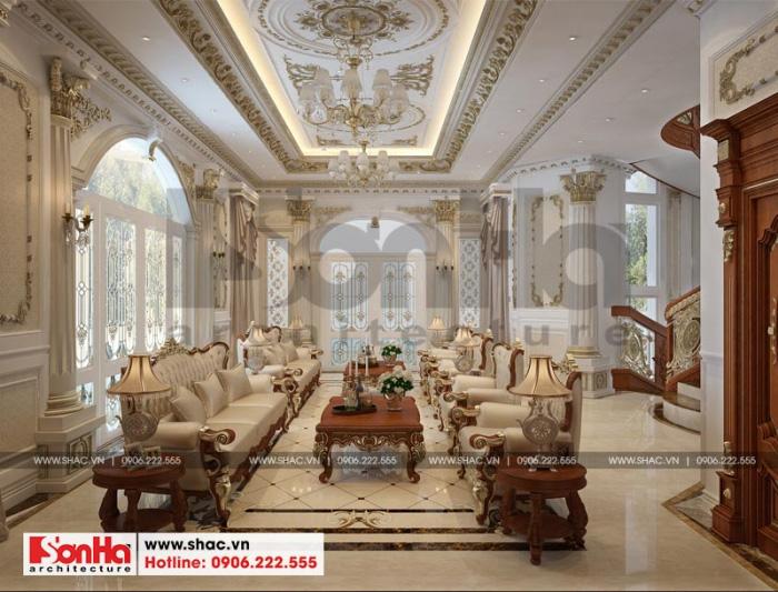 Phương án thiết kế nội thất phòng sinh hoạt chung của biệt thự lâu đài 3 tầng 1 tum