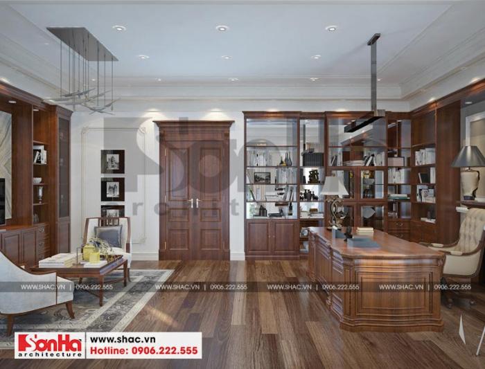 Căn phòng được lên ý tưởng thiết kế nội thất theo phong cách tân cổ điển chủ đạo