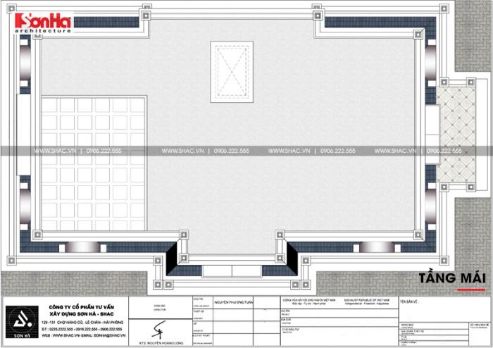 Bản vẽ chi tiết mặt bằng công năng tầng mái biệt thự tân cổ điển diện tích 199m2 khao học