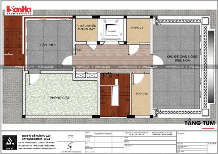 Bản vẽ chi tiết công năng tầng tum khách sạn kết hợp căn hộ cho thuê tiêu chuẩn 3 sao tại Hải Phòng