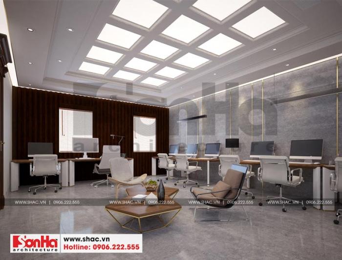 Không gian phòng làm việc có thiết kế nội thất đơn giản tạo sự thông thoáng