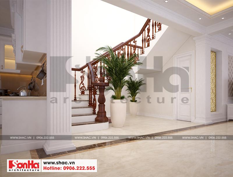 Thiết kế nội thất sảnh thang tầng 1 ngôi biệt thự hiện đại được chủ đầu tư đánh giá cao